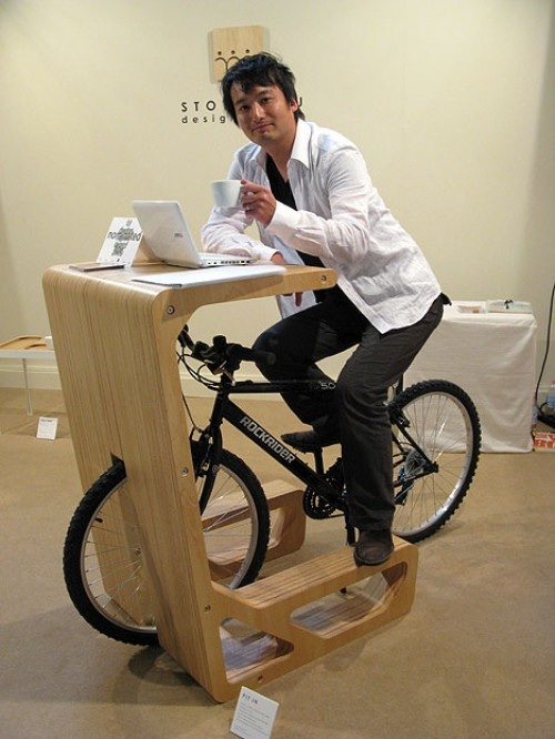 The Design Called Pit In Uses A Desk Or Table As Bike Rack Bicycle Seat Then Serves Chair While You Work Take Break