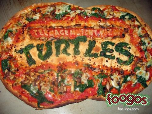 Teenage Mutant Ninja Turtles Logo On A Pizza Neatorama