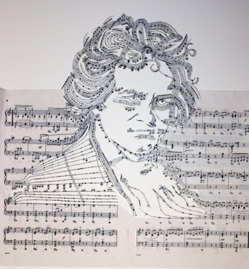 Portrait Of Beethoven Made From His Own Sheet Music