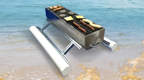 Floating Grill for Pool Parties - Neatorama