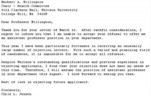 The Best Response To A Rejection Letter Ever  Neatorama