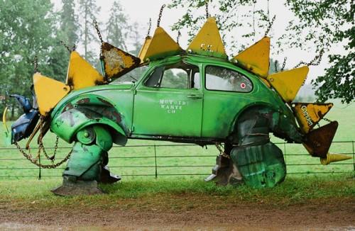 Volkswagen Beetle Stegosaurus Sculpture - Neatorama