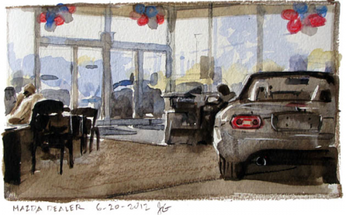 watercolor painting of the interior of a car dealership neatorama. Black Bedroom Furniture Sets. Home Design Ideas