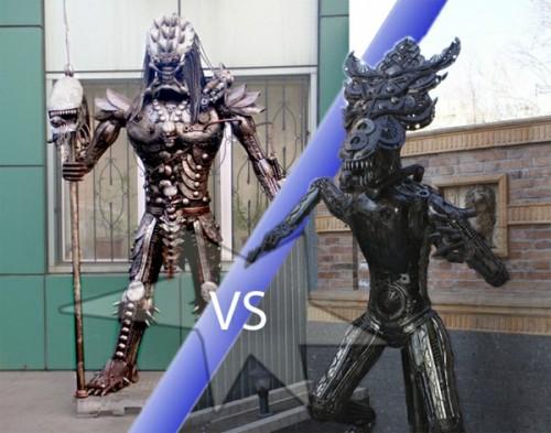 lifesize aliens vs predator metal sculptures neatorama